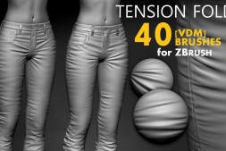 Zbrush布料褶皱笔刷 Leather & Fabric Tension Folds